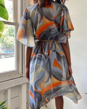70s Silk Chiffon Wrap Dress