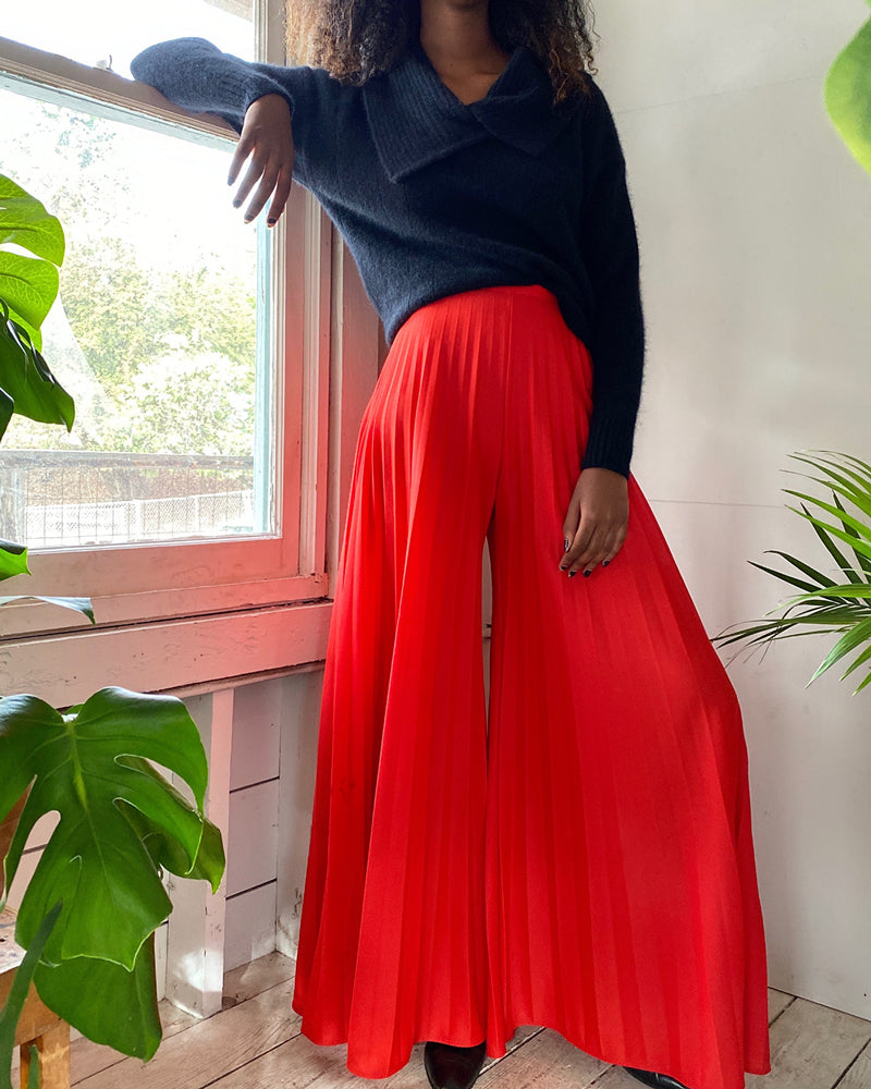 70s High Waist Pleated Palazzos