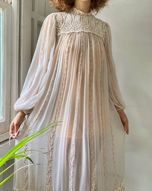 70s Embroidered Silk Tent Dress