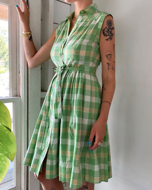 90s Belted Plaid Dress