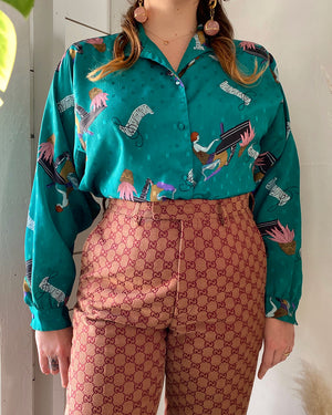 80s DVF Novelty Print Blouse