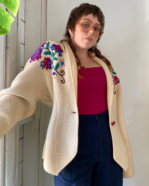 80s Embroidered Wool Jacket