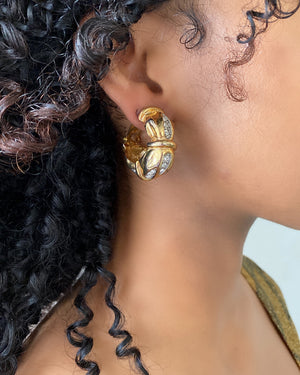 90s Gold Bamboo Hoop Earrings