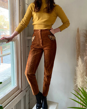 80s Embroidered Leather Pants