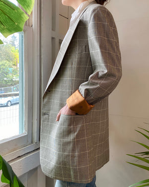 80s Dior Menswear Plaid Blazer