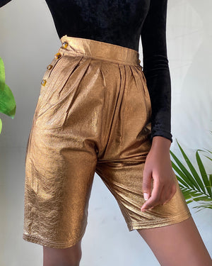 80s Metallic Leather Shorts