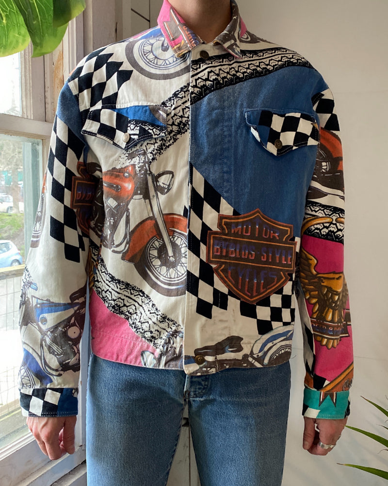 90s Byblos Denim Biker Jacket