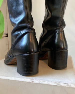 90s Pointy Toe Tall Leather Boots