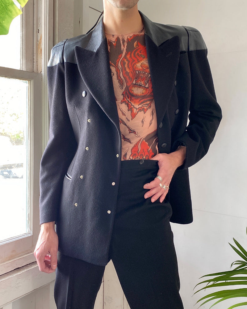 90s Gaultier Leather & Wool Jacket