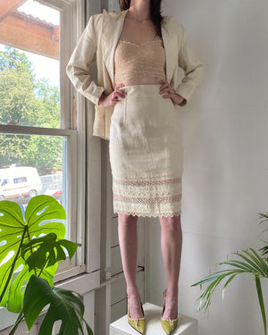 90s Lolita Lempicka Sheer Lace Panel Suit