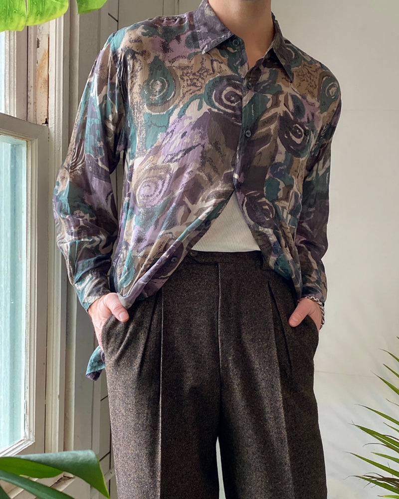 90s Printed Silk Shirt