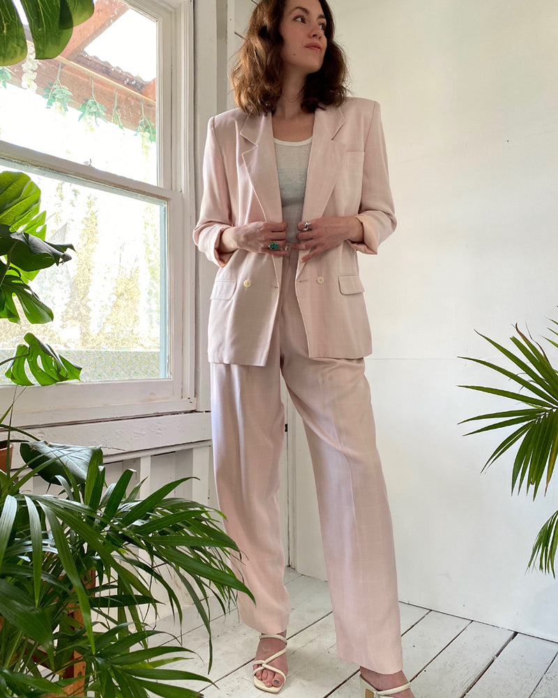 90s Pink Windowpane Check Pant Suit