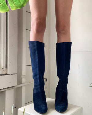 80s Blue Suede Boots