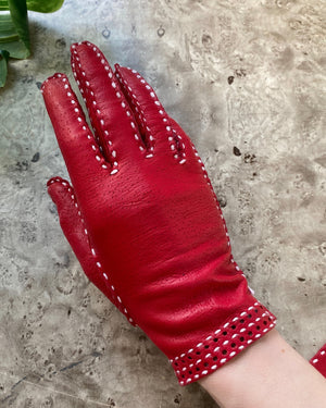60s Red Leather Gloves