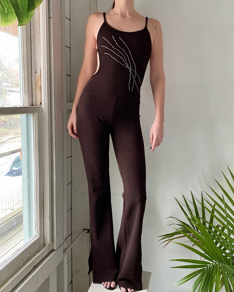 00s Beaded Backless Jumpsuit