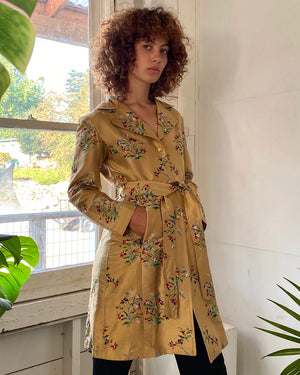 Embroidered Silk Trench Coat