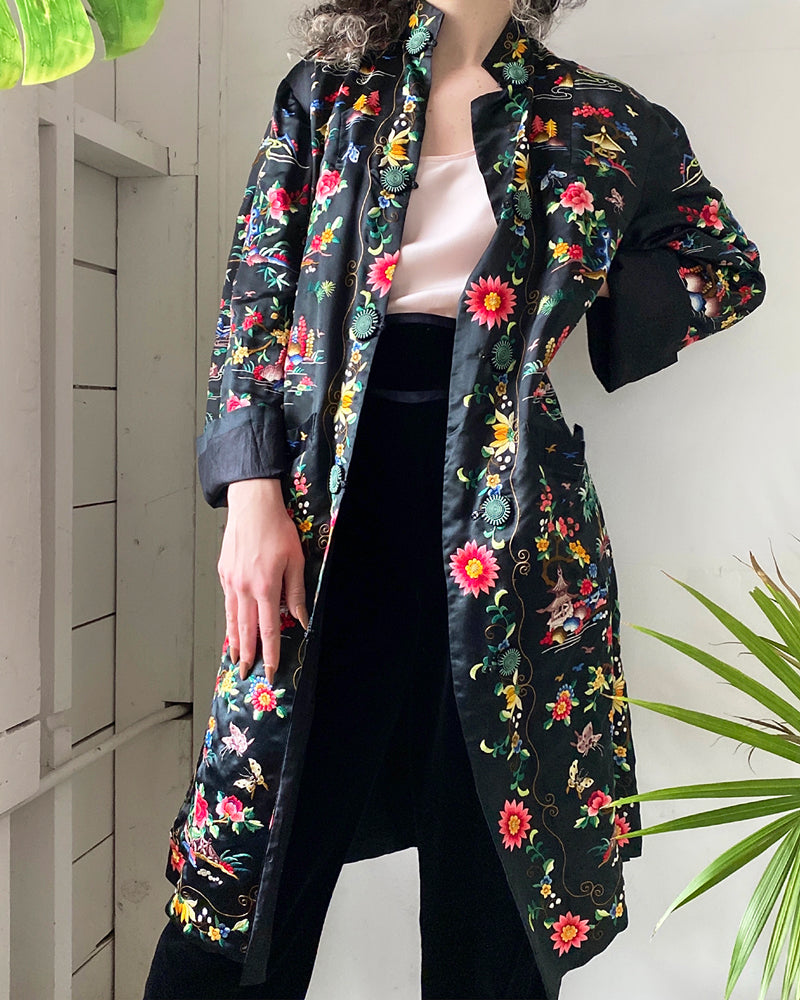60s Embroidered Silk Jacket
