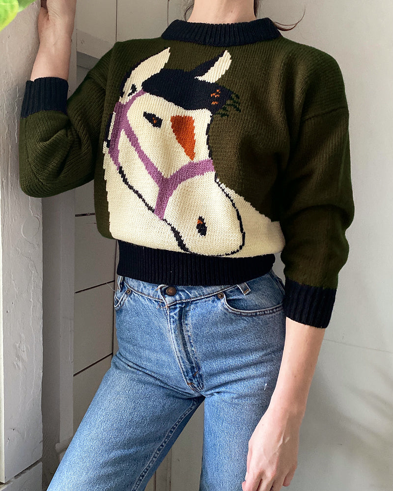 90s Hand Knit Horse Sweater