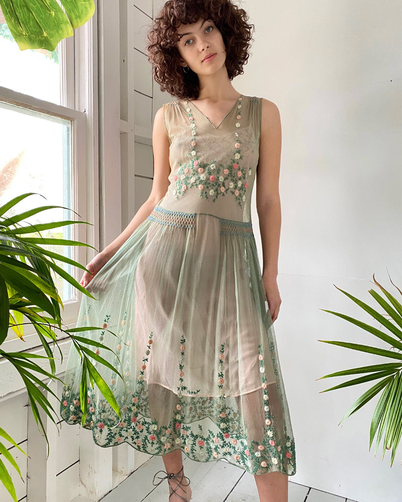 20s Embroidered Mesh Dress