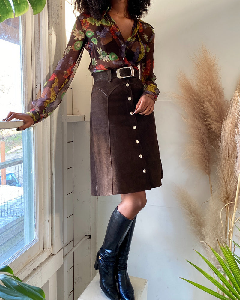 60s Belted Leather Skirt