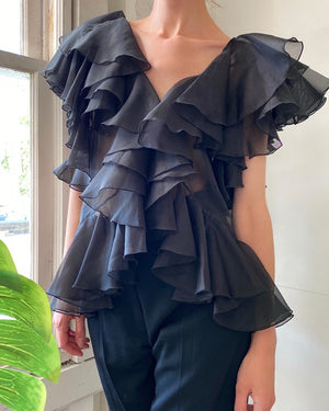 60s Sheer Ruffle Top