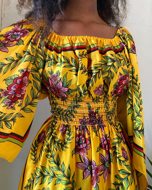 70s Off The Shoulder Scarf Print Mini Dress