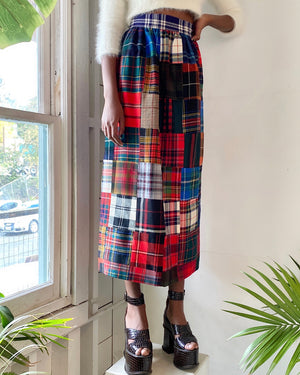 70s Plaid Wool Maxi Skirt