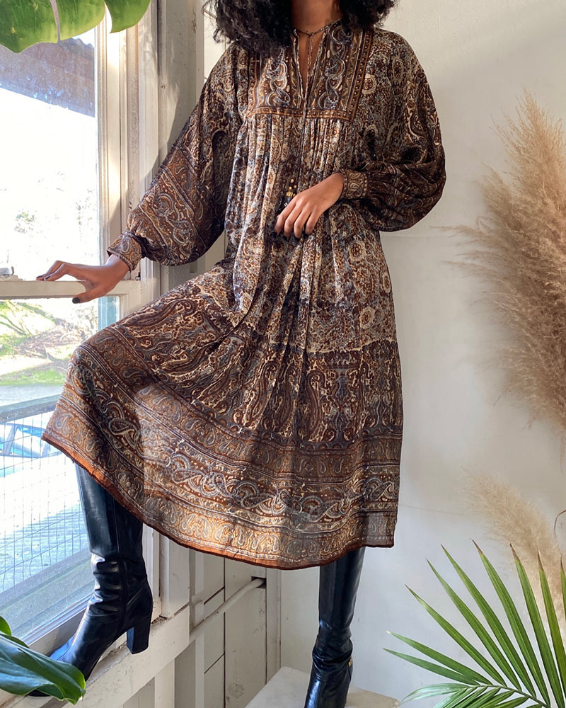 70s Indian Silk Dress