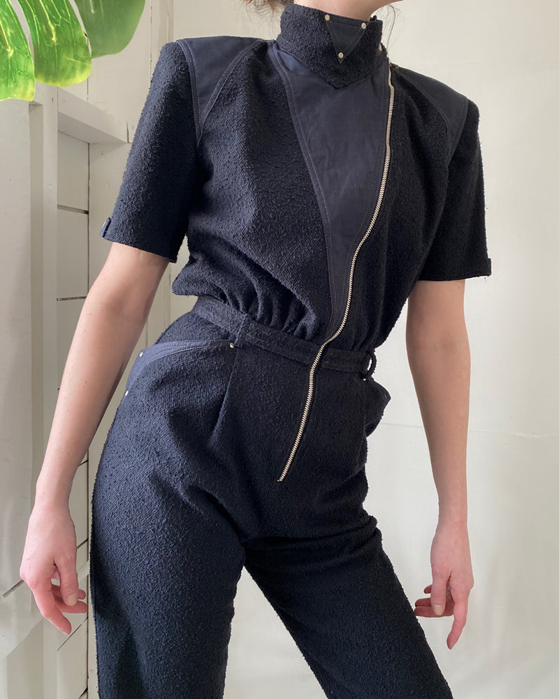 80s Cropped Moto Jumpsuit