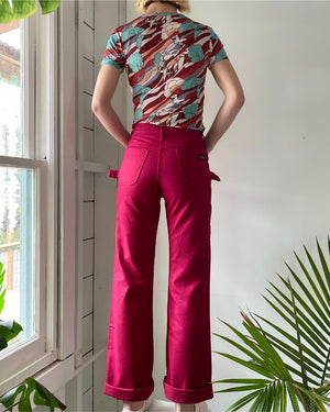70s Burgundy Carpenter Pants