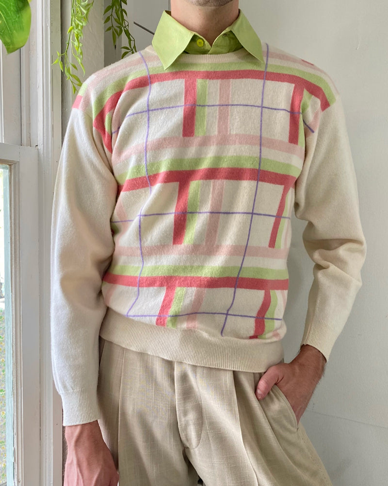 80s Lambswool Intarsia Sweater