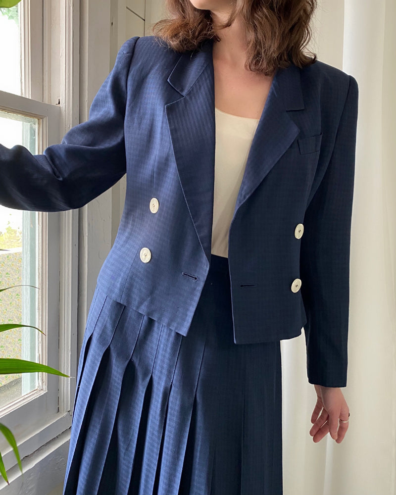 80s Navy Check Skirt Suit