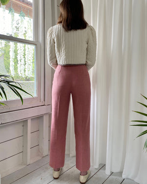 80s Dusty Rose Linen Pants