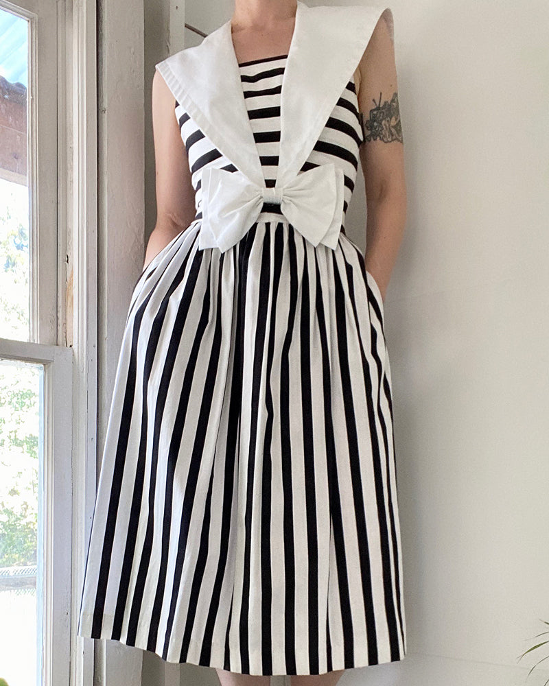 80s Striped Sailor Dress