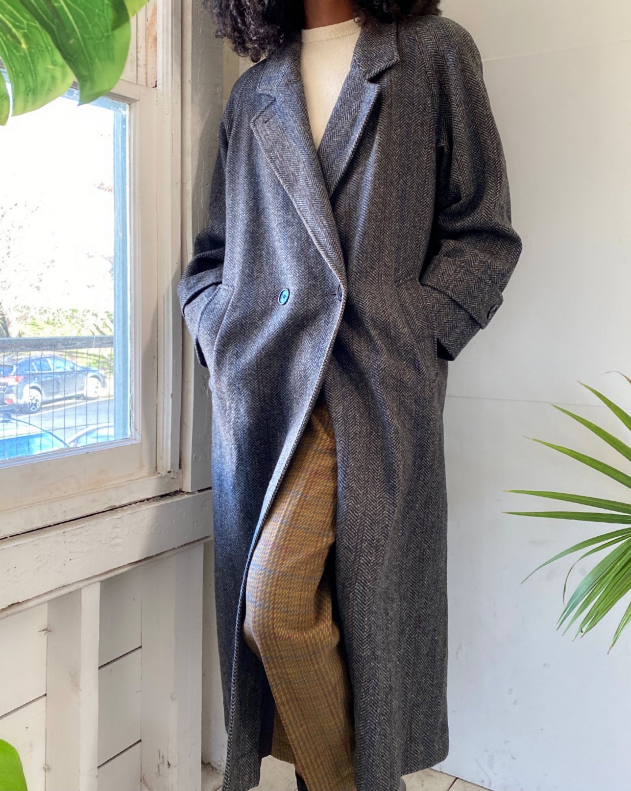 80s Tweed Wool Overcoat