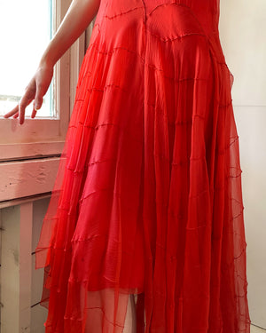 20s Silk Chiffon Dress
