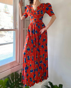 40s Puff Sleeve Floral Gown