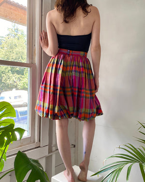 60s Plaid Silk Bubble Shorts