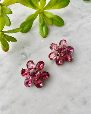60s Pink Rhinestone Flower Clip Earrings
