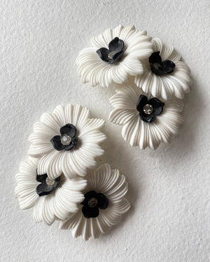 60s Oversized Flower Clip Earrings