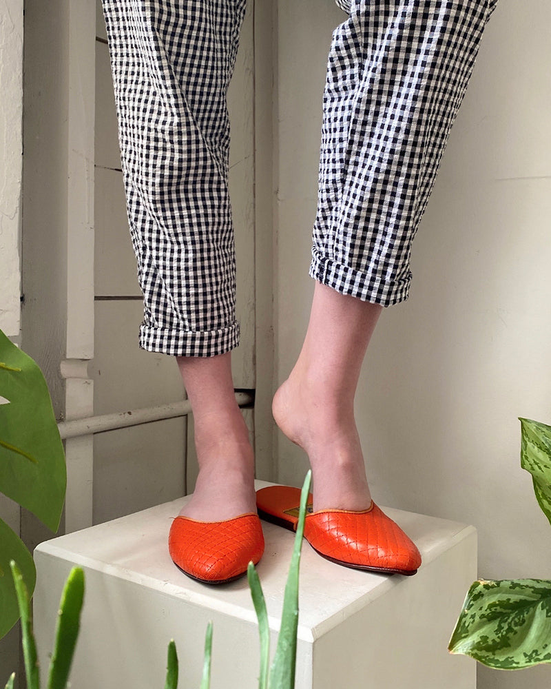 60s Deadstock Orange Quilted Slippers