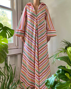 80s Christian Dior Hooded Caftan Dress