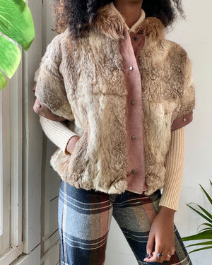 80s Fox & Rabbit Fur Vest