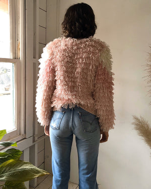 80s Pink Shag Sweater