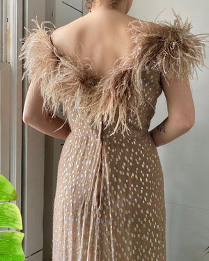 80s Victor Costa Feather Gown