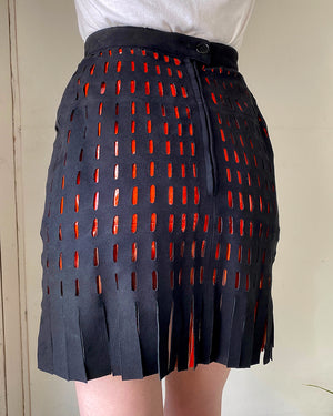 90s Alaia Lazer Cut Leather Mini Skirt
