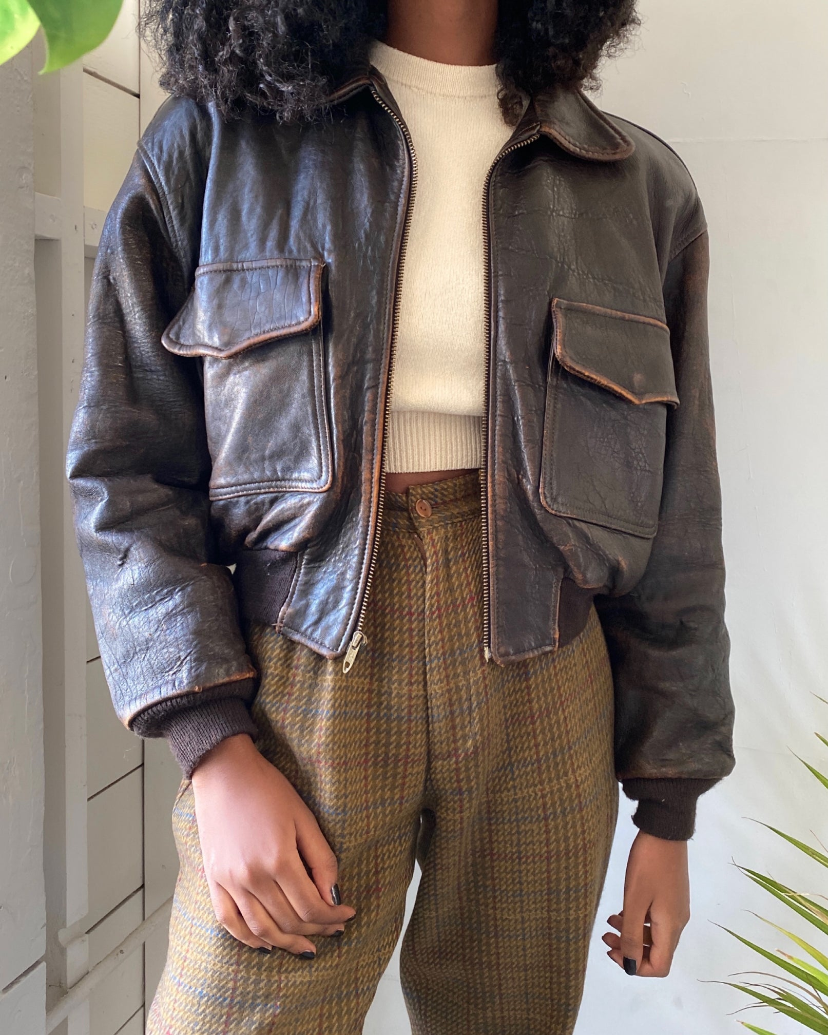 90s Cropped Bomber Jacket