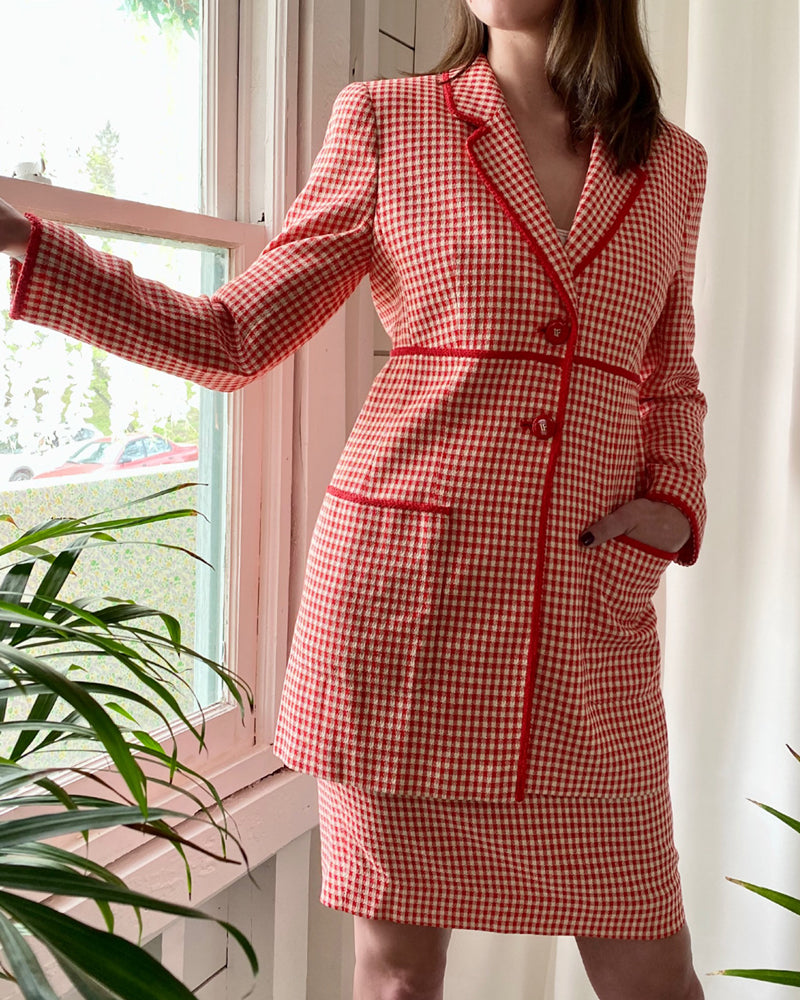90s Feraud Red Gingham Wool Suit