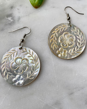 90s Etched Abalone Dangle Earrings