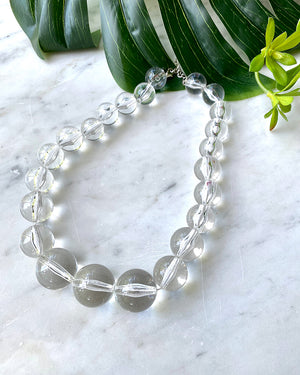 90s Chunky Clear Lucite Beaded Necklace